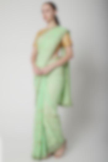 Mint Green Embroidered Saree by NARMADESHWARI