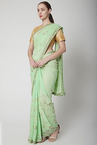 Mint Green Embroidered Saree Set by NARMADESHWARI