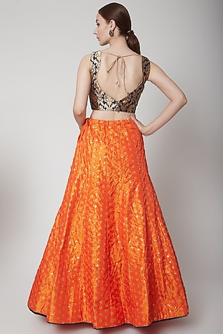 Orange Embroidered Lehenga Set by NARMADESHWARI