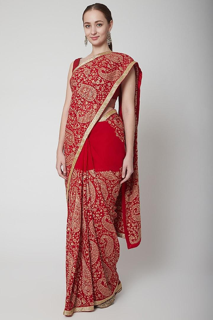 Red Resham Embroidered Saree by NARMADESHWARI