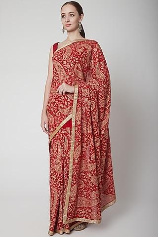 Red Resham Embroidered Saree Set by NARMADESHWARI