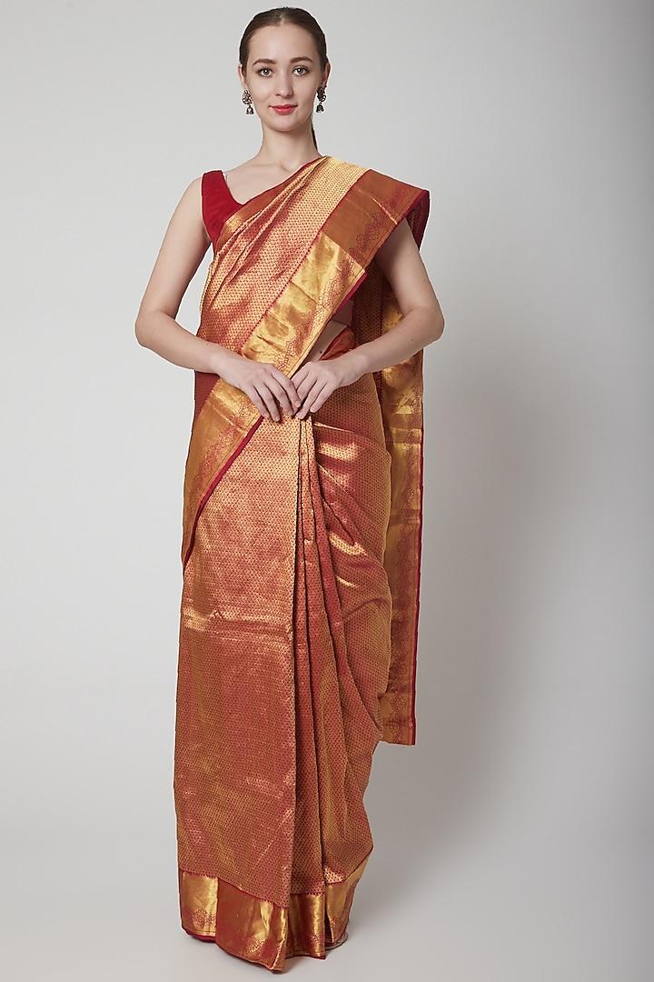 Maroon Handcrafted Saree by NARMADESHWARI
