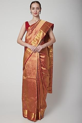 Maroon Handcrafted Saree Set by NARMADESHWARI