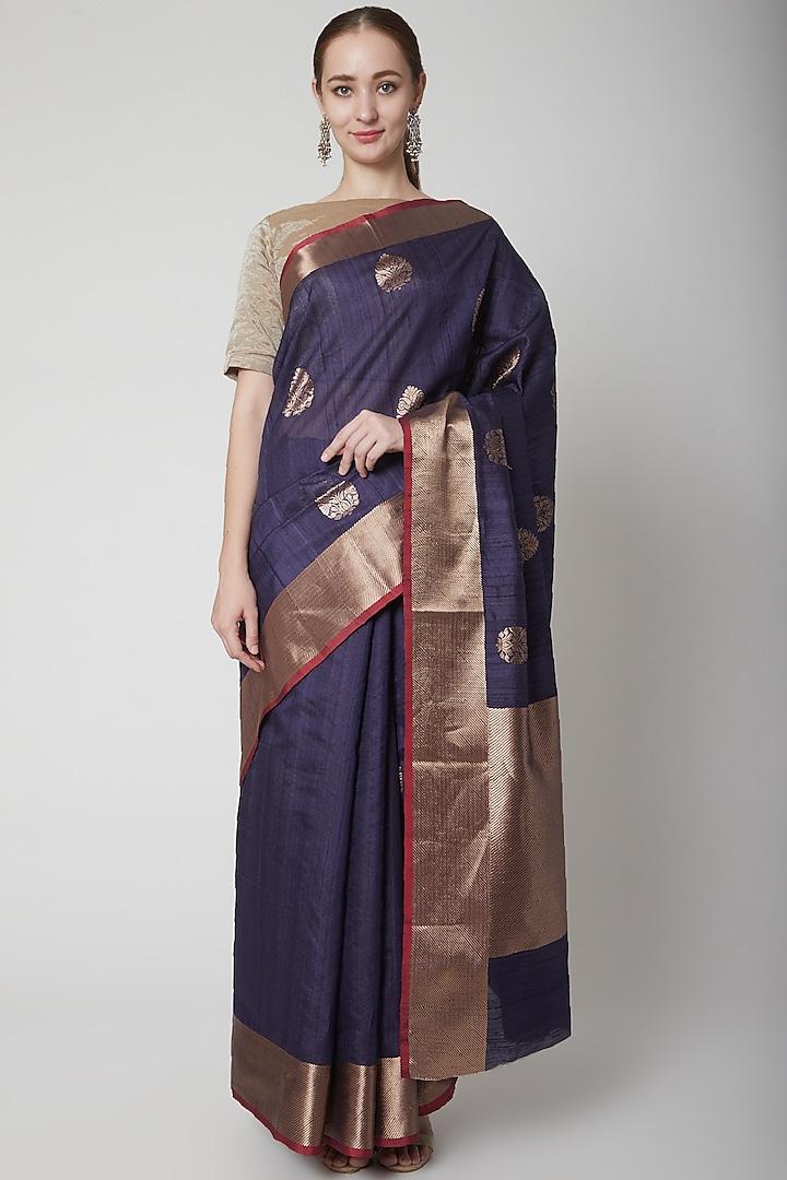Purple Uncoamed Saree by NARMADESHWARI