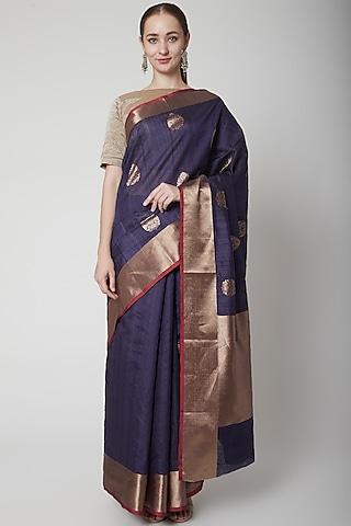 Purple Uncoamed Saree Set by NARMADESHWARI