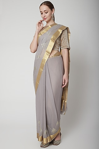 Grey Saree Set With Crystal Work by NARMADESHWARI