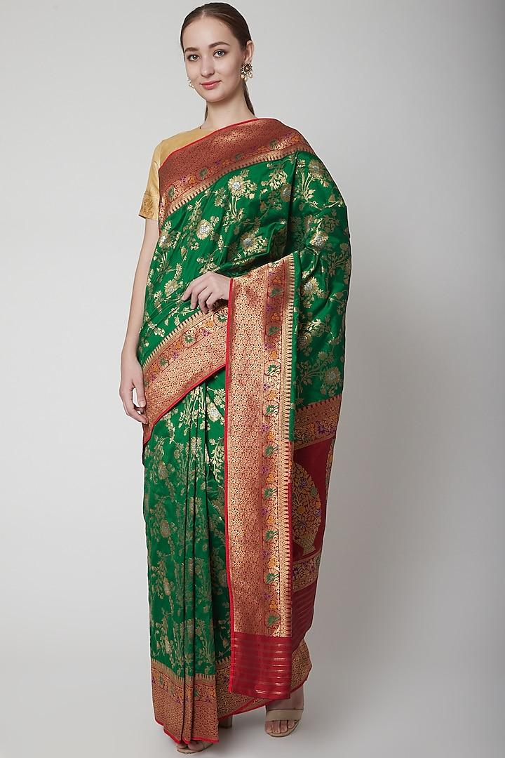 Emerald Green Jamawar Saree by NARMADESHWARI