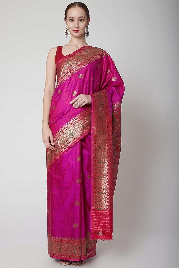 Purple Jamawar Uncoamed Saree by NARMADESHWARI