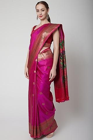Purple Jamawar Uncoamed Saree Set by NARMADESHWARI