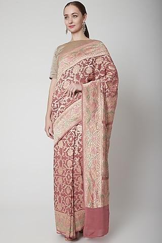 Copper Handcrafted Saree Set by NARMADESHWARI