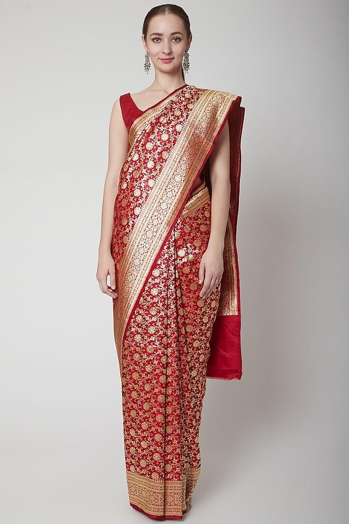 Red Silk Saree by NARMADESHWARI