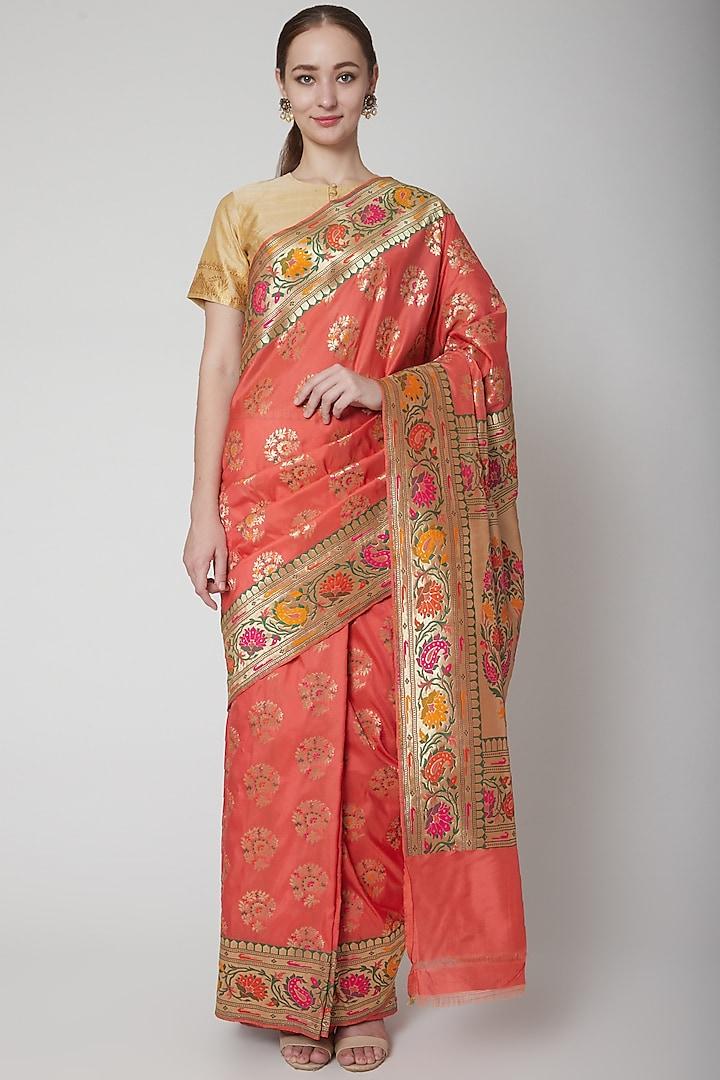 Peach Silk Saree by NARMADESHWARI