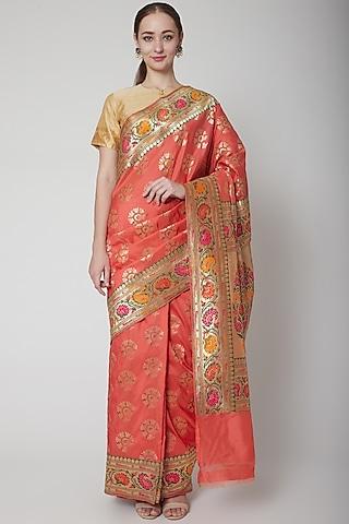 Peach Silk Saree Set by NARMADESHWARI