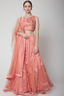 Peach Net Lehenga Set by NARMADESHWARI