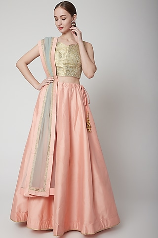 Peach Silk Lehenga Set by NARMADESHWARI