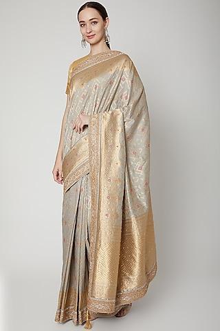 Grey Embroidered Saree Set by NARMADESHWARI