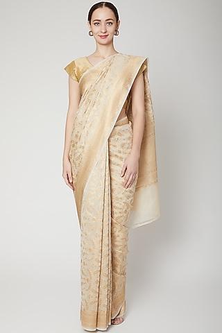 Gold Woven Silk Saree Set by NARMADESHWARI