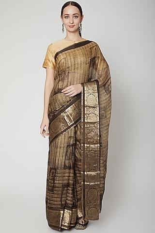 Brown Printed Saree Set by NARMADESHWARI