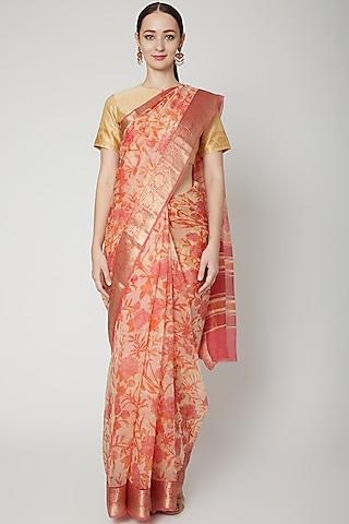 Peach Printed Saree Set by NARMADESHWARI