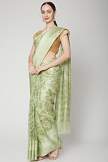 Mint Green Kota Printed Saree Set by NARMADESHWARI