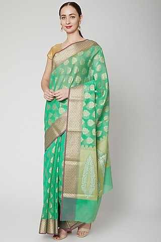 Mint Green Chanderi Cotton Saree Set by NARMADESHWARI
