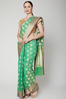 Mint Green Chanderi Cotton Saree Set by NARMADESHWARI