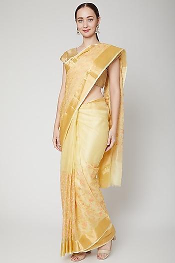 Lime Yellow Embroidered Saree Set by NARMADESHWARI