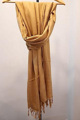 Light Beige Handwoven Natural Dye Stole by Narmohandas