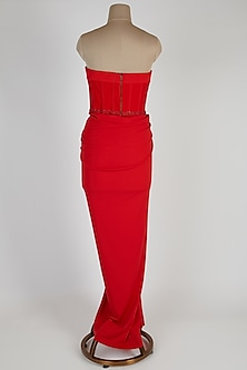 Red Embroidered Corset Saree Gown by Shantanu & Nikhil