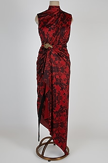 Red Printed & Embroidered Saree Gown by Shantanu & Nikhil