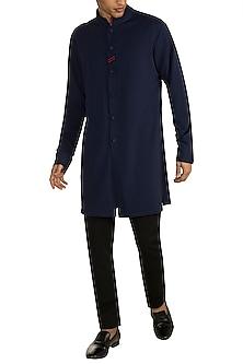 Navy Blue Pique Knit Kurta by Shantanu & Nikhil Men