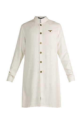 Ivory Eagle Crest Silk Kurta by Shantanu & Nikhil Men