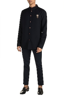 Navy Blue Polyester Shirt by Shantanu & Nikhil Men
