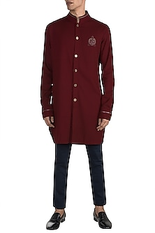 Cherry Red Crushed Kurta by Shantanu & Nikhil Men