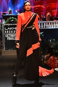 Red Jacket With Black Drape Saree & Tights by Shantanu & Nikhil