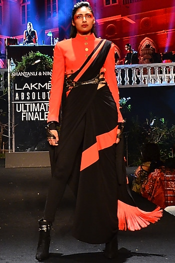 Red Jacket With Black Drape Saree & Tights by Shantanu & Nikhil