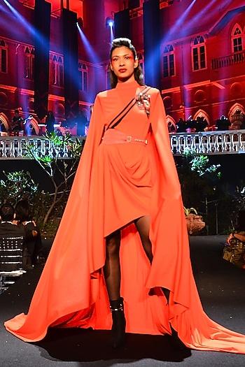Red Drape Dress With Belt by Shantanu & Nikhil