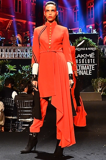 Red Drape Jacket With Trouser Pants & Belt by Shantanu & Nikhil