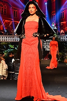 Red Embroidered Straight Fit Gown by Shantanu & Nikhil