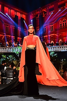 Red Embroidered Jacket With Black Skirt by Shantanu & Nikhil