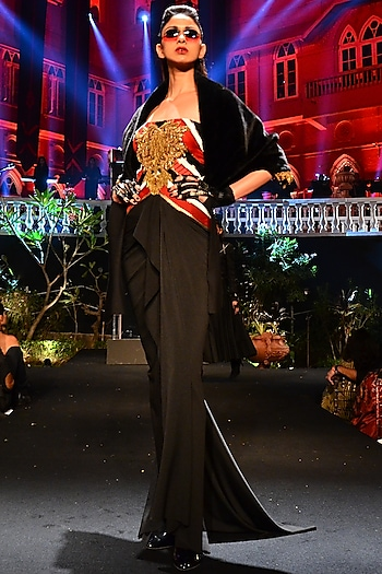 Black Embroidered Gown by Shantanu & Nikhil