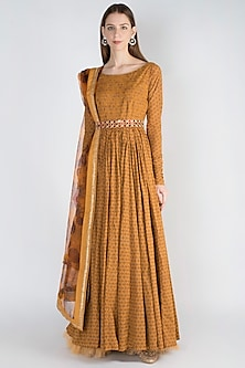 Mustard Printed Anarkali Gown With Dupatta by Natasha J