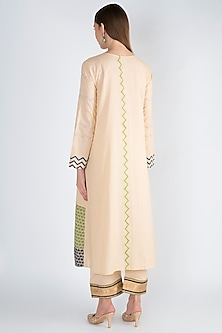 Off White A-Line Kurta With Pants by Natasha J