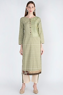 Sage Green Embroidered Kurta With Pants by Natasha J