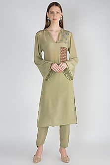 Sage Green Printed Kurta With Pants by Natasha J