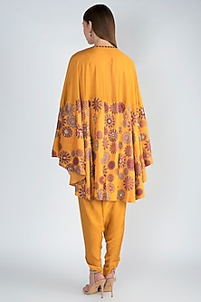 Mustard Printed High Low Cape With Dhoti Pants by Natasha J