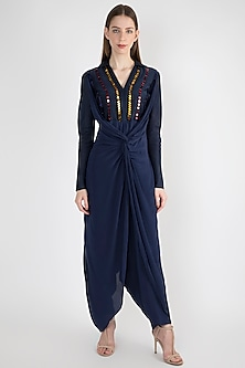 Navy Blue Twist Jumpsuit by Natasha J