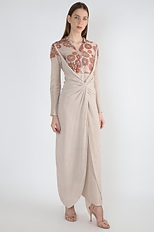 Grey Crepe Silk Printed Jumpsuit by Natasha J