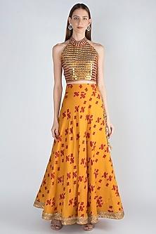 Mustard & Rust Embroidered Lehenga Skirt With Blouse by Natasha J