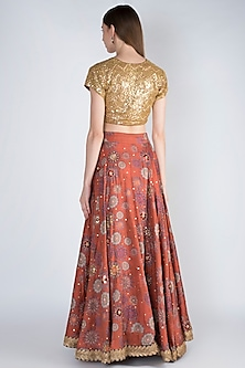 Rust Embroidered Lehenga Set by Natasha J